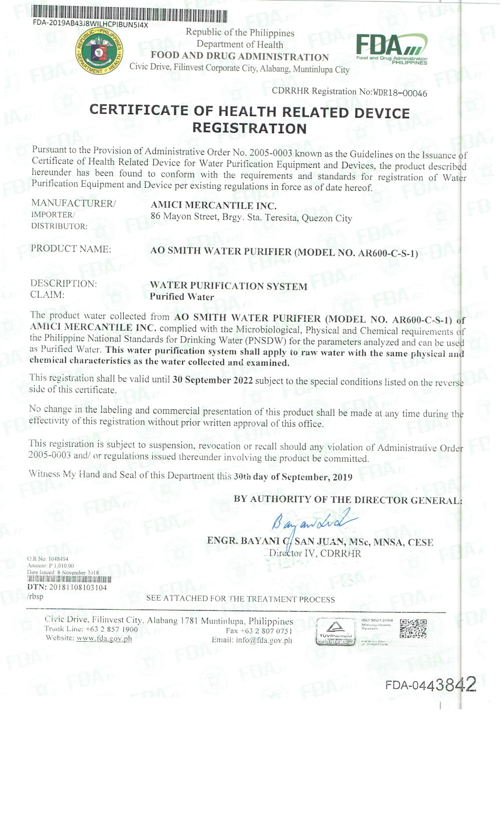 A. O. Smith AR600 FDA Certificate page 1