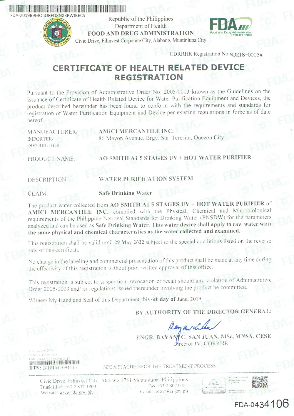 AO Smith A1 FDA Certificate page 1